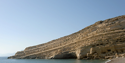 Beach cliff in Matala (Μάταλα) on Crete, in Greece.